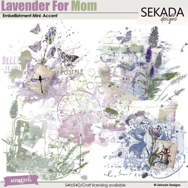 ON SALE Lavender For Mom Embellishment Mini Accent