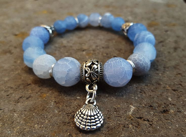 Boho style, stretch agate gemstones bracelet with antique silver shell charm. Bohemian Fashion Yoga Jewellery Beach Festival Gift For Her