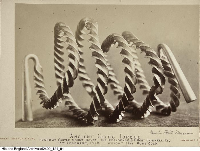 AL2400/121/01 A Celtic torque found at Castlemount House, Dover in 1878. Photographed by Lambert Weston and Son. Please click for more information, or to search the collections.