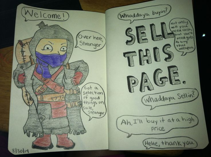 First page finished. Sell this page, the merchant from resident evil 4. My wreck this journal.