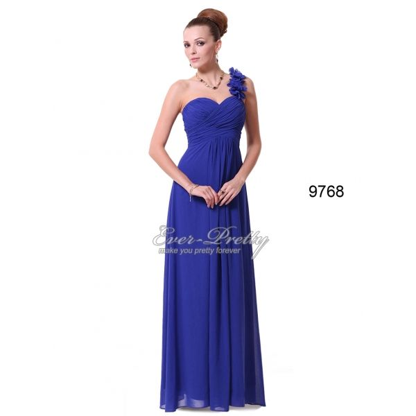 Sapphire Blue Flowers One Shoulder Chiffon Padded Evening Dress