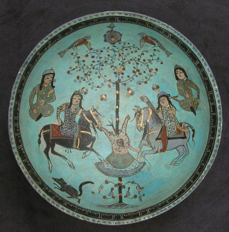 A Saljuq Mināʾi bowl with paired riders, 12th-13th centuries