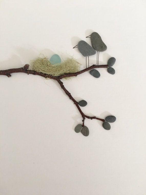 Kunst von Sharon Nowlan 8 x 15 mit Meer Ei und Mama und Papa Vögel gerahmte Kiesel Glaskunst Kiesel