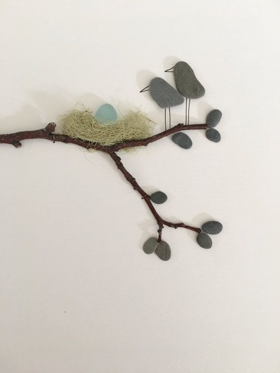 Pebble art by sharon nowlan 8 by 15 with sea glass by PebbleArt