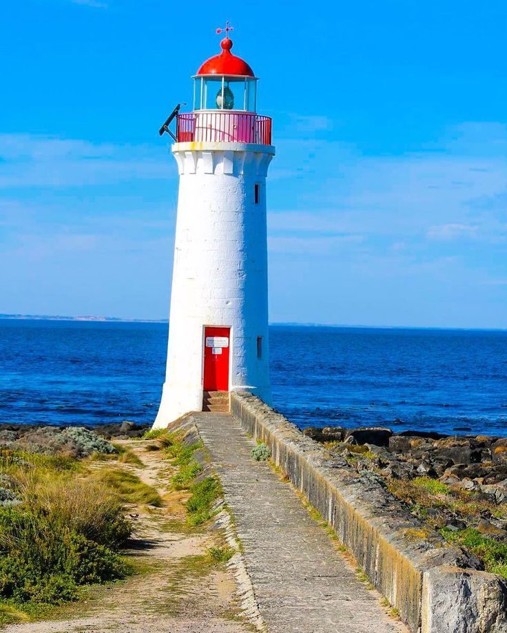 """""""Blue with a view"""" #portfairy #lighthouse #griffithisland #beach #greatoceanroad…"""