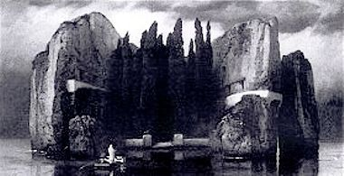 Arnold Böcklin (Swiss 1827–1901) [Symbolism] Isle of the Dead: Fourth Version, 1884 (black-and-white photograph). Fourth Version, 1884 - Oil on copper; 81 x 151 cm; destroyed in Berlin during World War II.