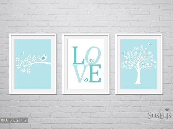 Birds Love Nursery decor Wall art Teal Flower art 8x10 by Suselis