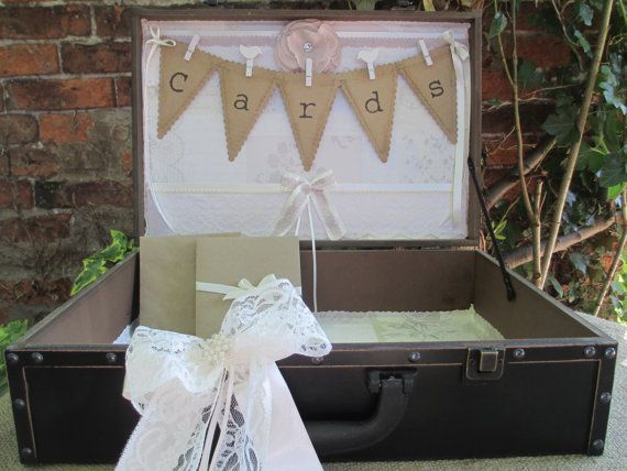Wedding Card Suitcase Card Holder Post Box  Love by TheIvoryBow