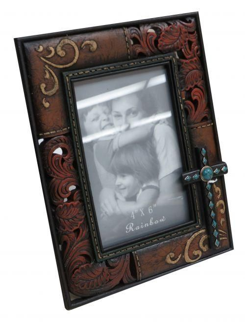 """x 6.5"""" Engraved photo frame with cross accent"""