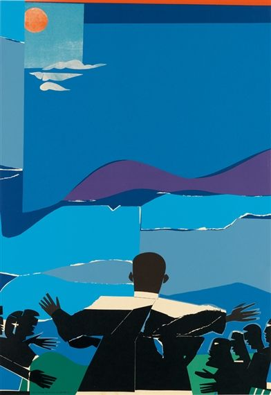 Artwork by Romare Bearden, Martin Luther King, Jr. - Mountain Top, Made of color screenprint
