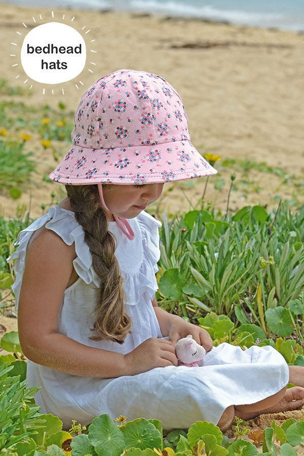 With a UPF50+ rating this Bedheads kids bucket hat in 'Ava' blush print is perfect for summer! #bedheadhats #kidshats #kidsfashion