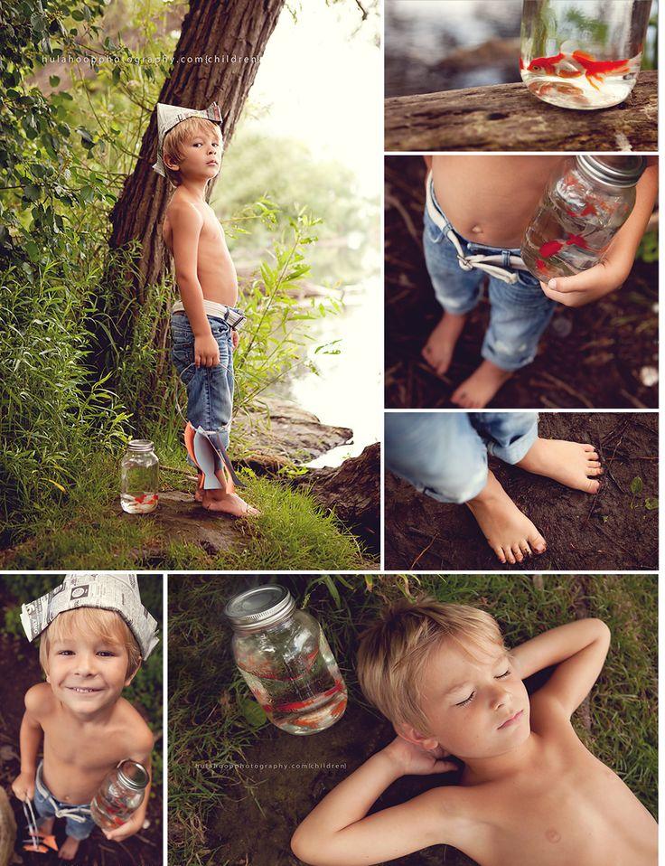 Whimsical boy fishing photo shoot