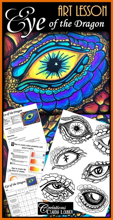 Art lesson :  The Eye of the Dragon! Drawing with coloured pencil crayons.  For students in Grade 3 and all the way up to High School. Your student learn how to create colour gradients.   This document contains:  - Instructions: 2 pages - A game using images to introducte the project. - Explanatory photos: 15 pages - Images to inspire you: 6 Dragon's eyes. - Evaluation rubric. - Chromatic circle. - Guided exercises to learn how to do colour gradiation.