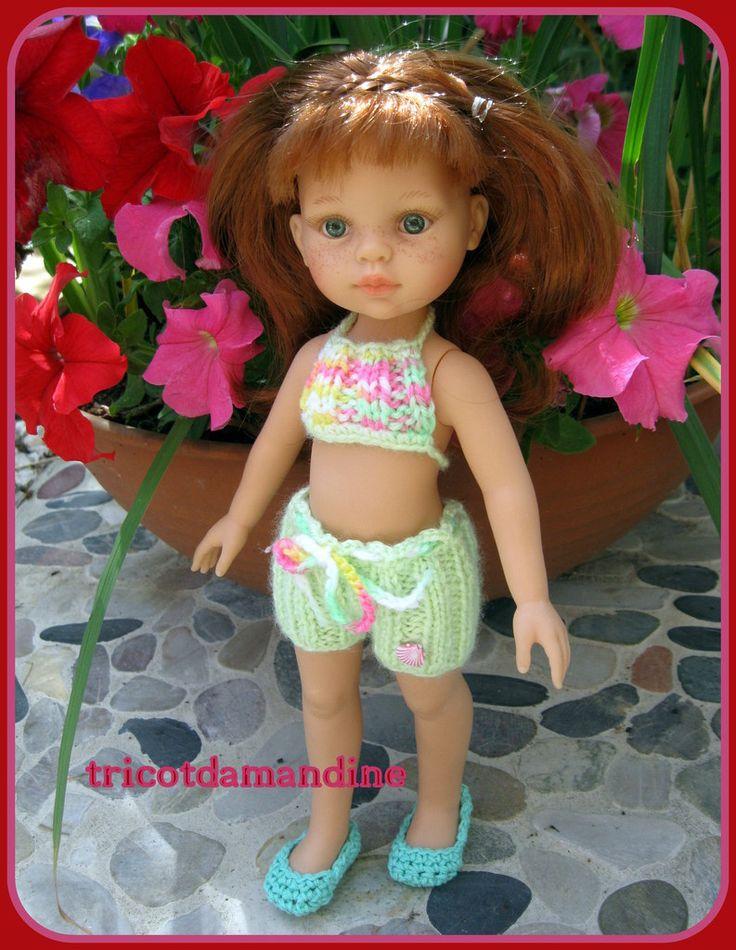 """une nouvelle tenue """"chérie-paola reina""""...  tuto : http://tricotdamandine.over-blog.com/2015/09/une-nouvelle-tenue-cherie-paola-reina.html"""