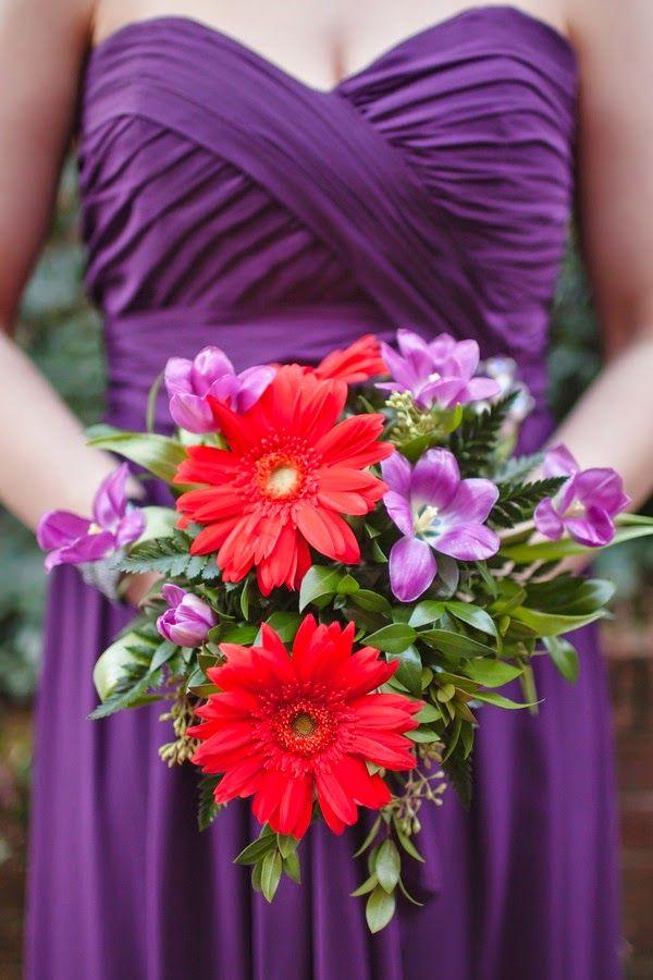 Red and Purple Wedding | Bridesmaid Bouquet. http://simpleweddingstuff.blogspot.com/2014/05/red-and-purple-wedding.html