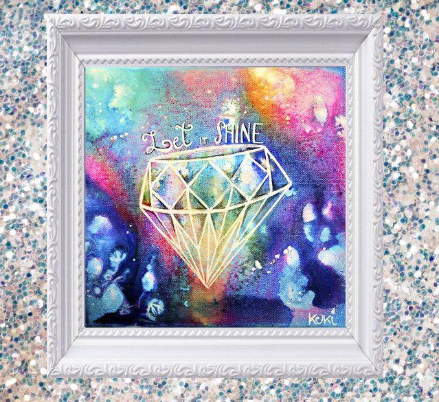 """Stampa """"Lascia che Risplenda"""" arte motivazionale, quadro diamante, astratto geometrico, arte con brillantini, stampa colorata arcobaleno di laKuki su Etsy"""