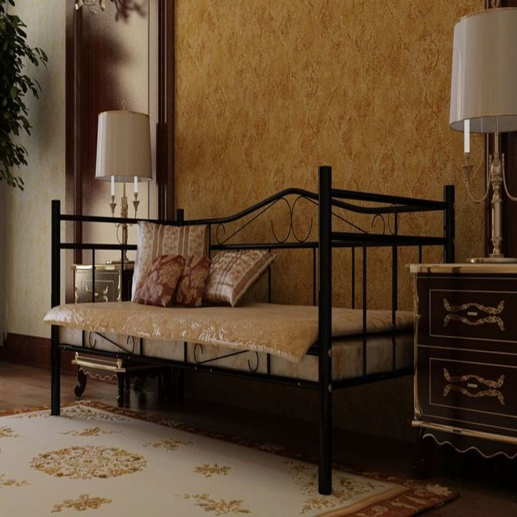 Black Single Day Bed Metal Furniture Vintage Hallway Living Room Bedroom Seat