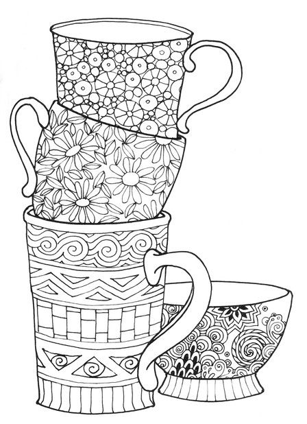 463 best Coffee Tea Coloring Pages for Adults images on