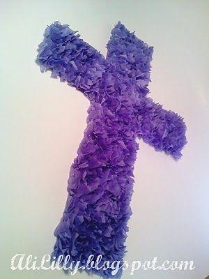 Easter Tissue Paper Cross