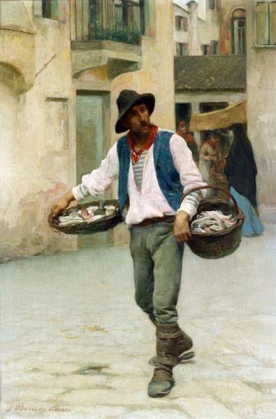 """Venetian Fish Seller"" by Giuseppe Barison (Italian 1853-1931)"