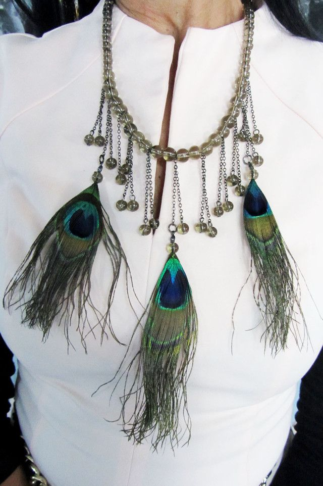 FASHION PEACOCK FEATHER STYLE NECKLACE QT216