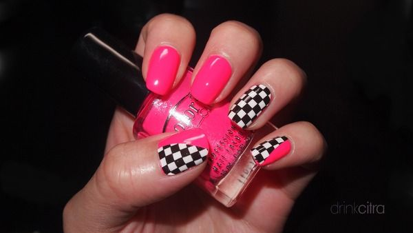 Checkered and pink.. race day nails