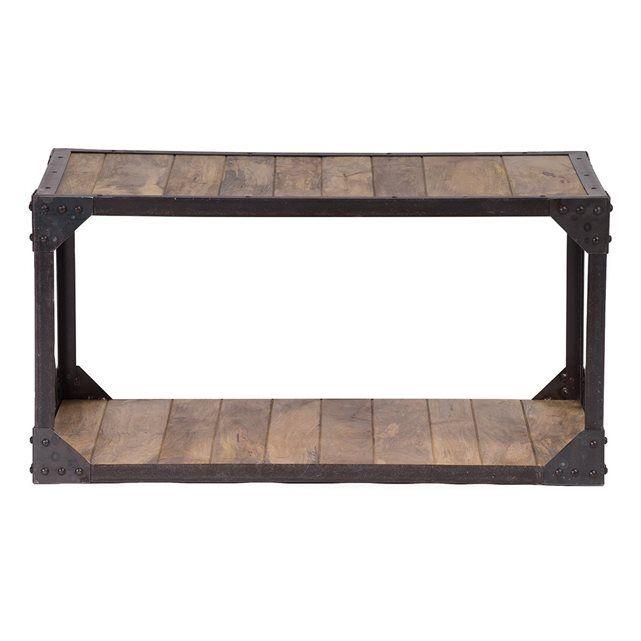 Superb Table Basse Metal Bois #11: Table Basse Bois Massif Et Métal Industrielle ATELIER