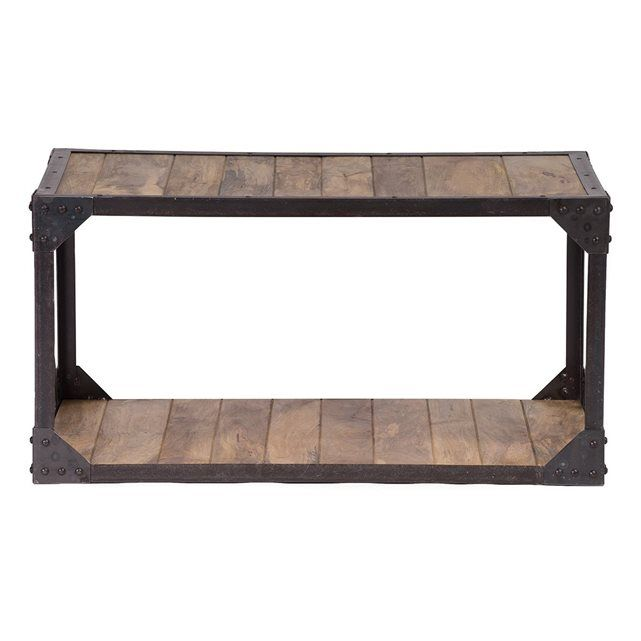 table basse bois massif et m tal industrielle atelier. Black Bedroom Furniture Sets. Home Design Ideas