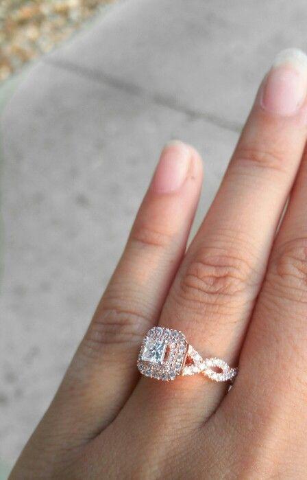 Awesome Rose gold custom made vera wang engagement ring
