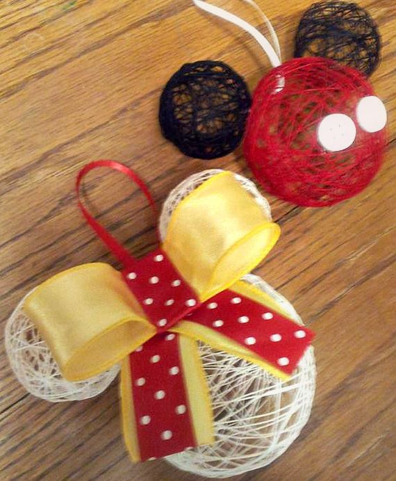 DIY Hollow String Disney Ornaments Need: Liquid Starch, String, Balloons, Glitter(if wanted), a Bow and buttons(if wanted) What to do: Blow up your balloons. Cut string about 2-3 feet long, then dip them in your bowl full of liquid starch. Wrap, and Wrap, and Wrap until theres only little openings. Take a brush and apply another layer of liquid starch, then Glitter and hang dry. Pop the balloons in the middle once its all the way dry and Voila! Fun but time consuming and hard for kids