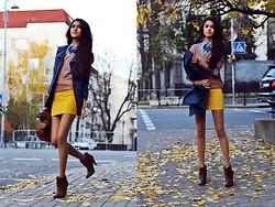 Cute Fall Look: Stradivarius Sweater, Club Couture Skirt, Aldo Boots, Mango Bag