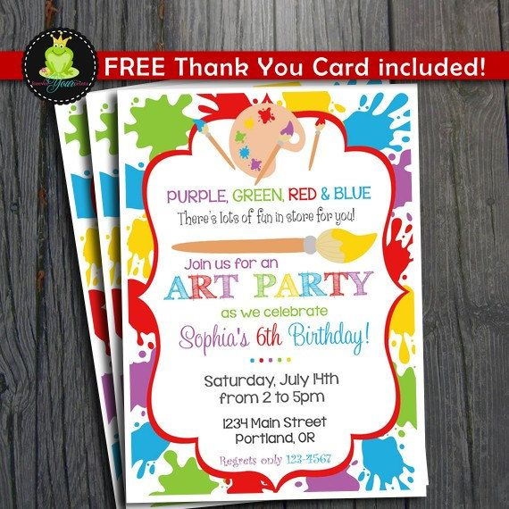 Art Party Invitation FREE Thank You Card by ForeverYourPrints – Artist Party Invitations