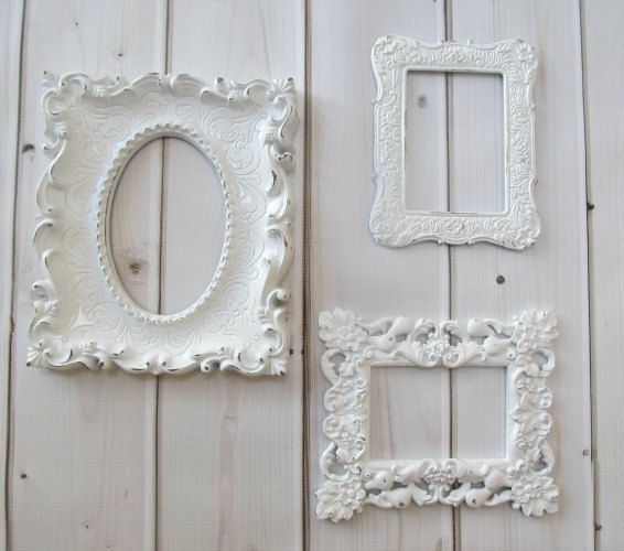 Vintage Wall Decor For Nursery : Picture frames set vintage ornate white baroque of