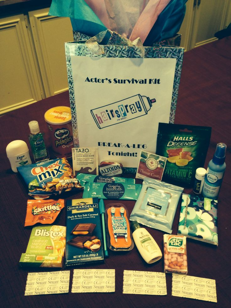"I made this ""Actor Survival Kit"" for both of my daughters who are in their high school theater production of the musical, Hairspray!  In it are snacks, candies, Throat Coat and other tea bags, vitamin c drops, Advil, febreeze, band aids, hand sanitizer, and other much needed mini toiletries."