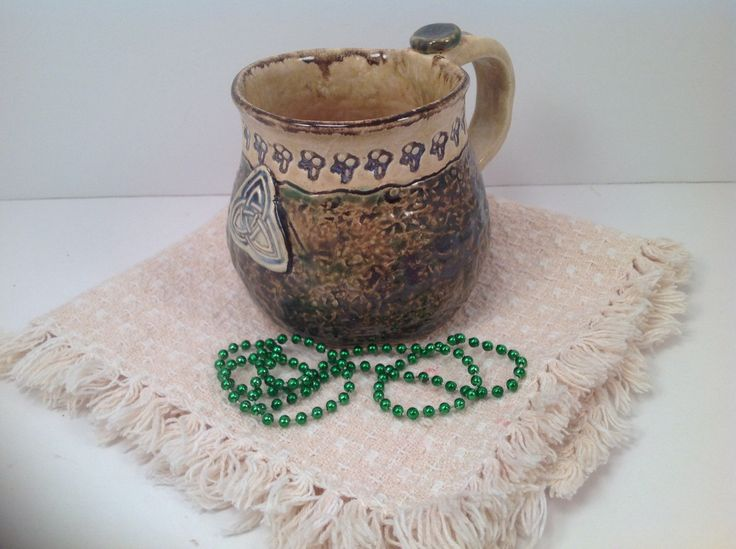 Irish mug/stoneware mug/celtic pottery/celtic mug/trident/irish pottery/mug/handmade mug/celtic knots by joycepottery on Etsy