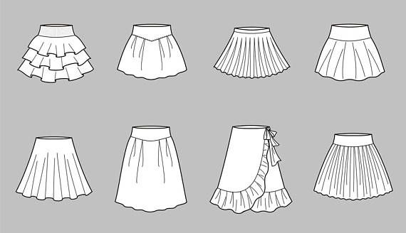 Skirt Vector Fashion Flat Sketch 2 83 Adobe Illustrator Design Technical Outline Flat Drawing Digital Clip Ar Flat Drawings Flat Sketches Fashion Drawing