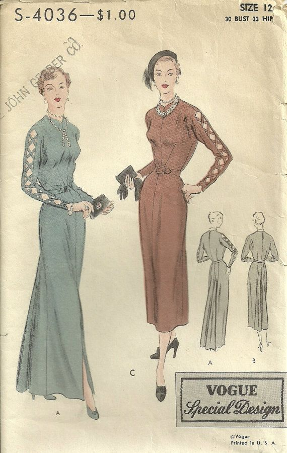 Vintage Vogue Special Design S4036 Pattern Dress in by Abbysfabric, $28.00