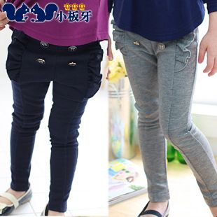 2013 autumn korean version of the new childrens flouncing large buttons baby girls long pants 5152 only $8.28USD a Piece