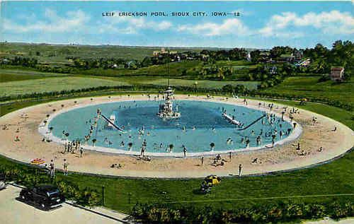 sioux city iowa ia 1940s leif erickson swimming pool vintage postcard ebay swimming