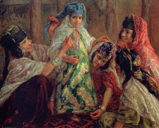 The Muslim World: Little girl's festive costume, mid 1800s. Art Etienne Dinet.