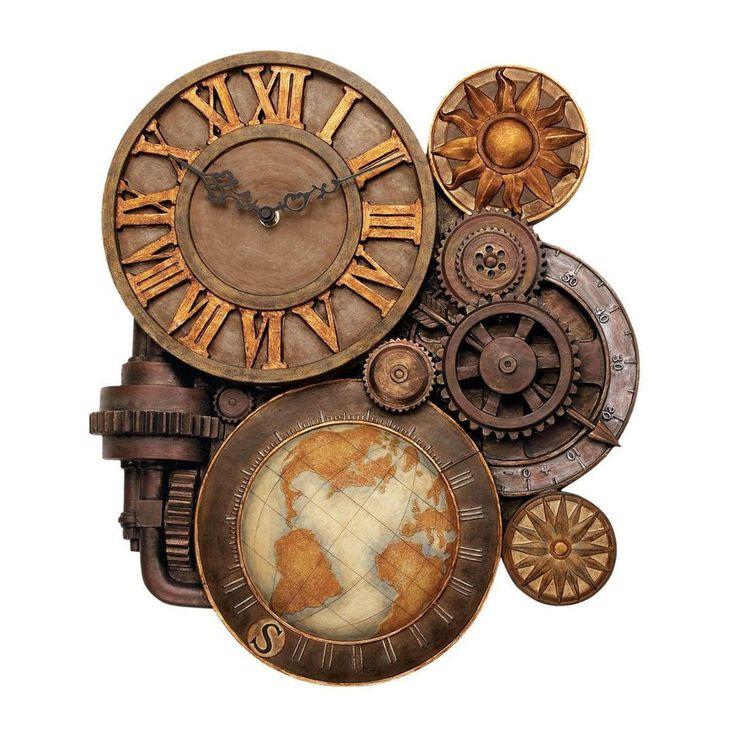 Wall Clock Gears Steampunk Industrial Vintage Sculptural Art Stone Retro Style …