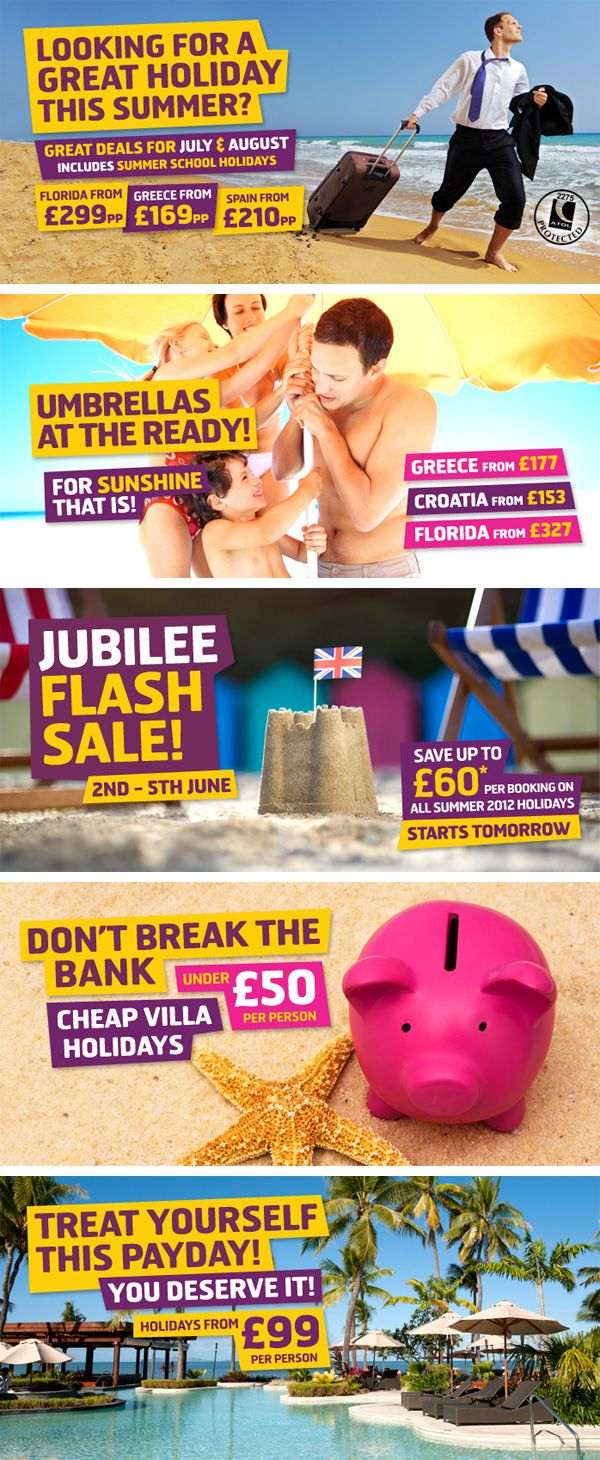 Bit of Graphic Design for Monarch Holidays Website Banners