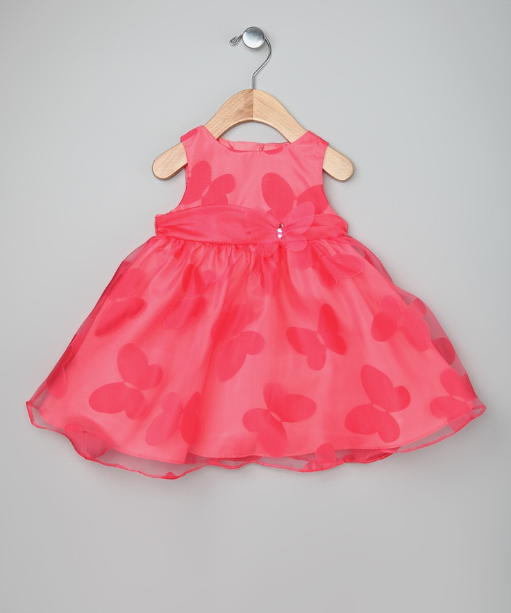 Rare Editions Coral Butterfly Dress - Infant