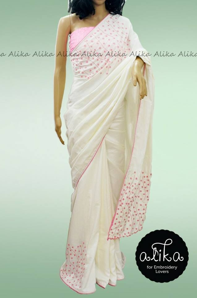 Checkout The Special Baptism Silk Saree In White Color With Pink