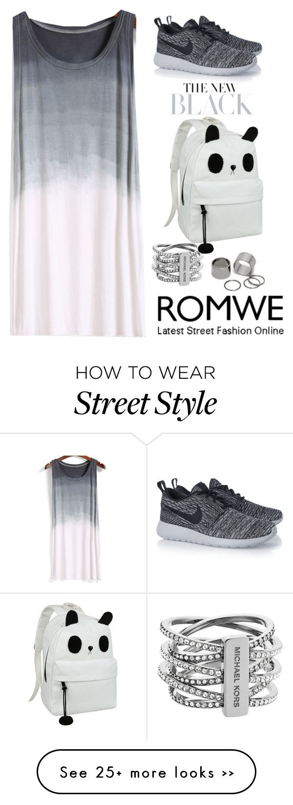 """Romwe !!!"" by fatsoula on Polyvore featuring Michael Kors, Pieces and NIKE"