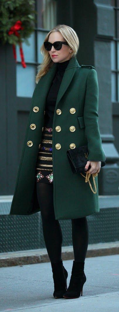 Emerald Green Coat + Black Embellish Skirt + Black Clutch Purse Faux Black Leging + Black Sweater + High Heel Booties