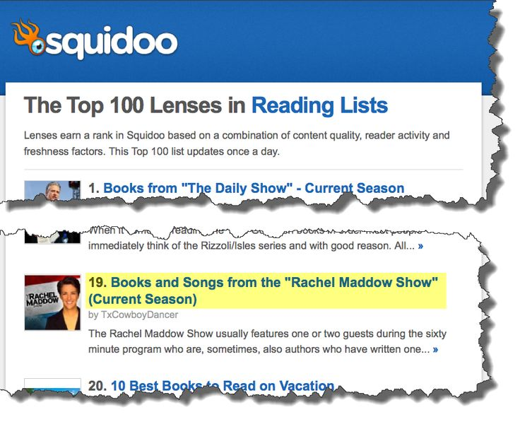 MY LENS IS IN THE TOP 100 on all three lists! Three Top 100 rankings!!! -- Books and Songs from the Rachel Maddow Show
