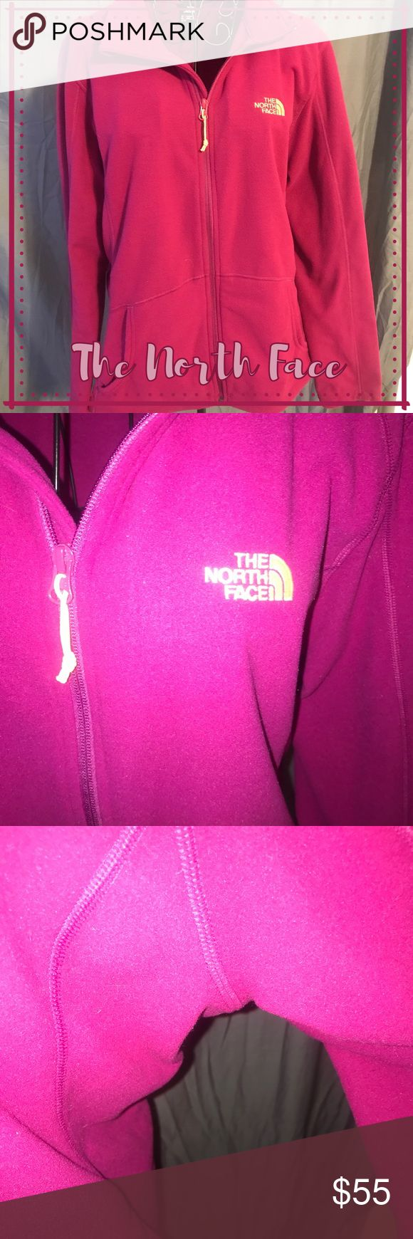 North Face Zip Up Beautiful North Face zip up. Women's size XL. Only worn one time. In perfect condition. Super cool color (kind of a magenta purple color with neon orange/pink accents). The North Face Sweaters