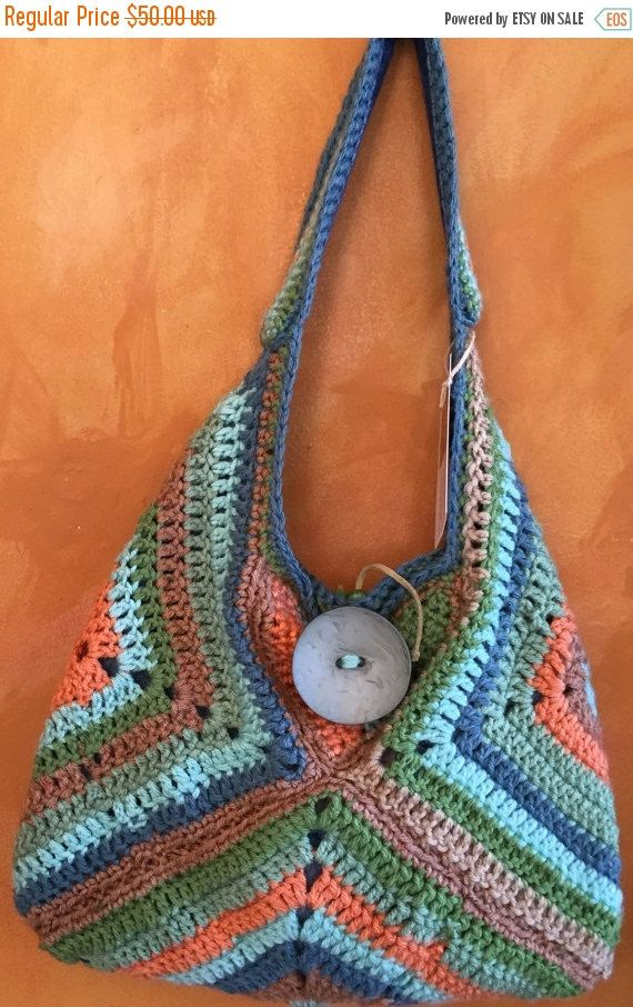 Crochet Bag With Pockets Pattern : ON SALE Hand Crochet Slouchy Large Purse Bag with Pockets ...