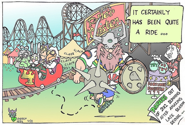 Victor the Viking - Raiders jump off 2012 finals roller coaster.